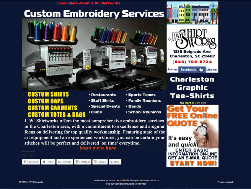 JW Shirtworks Home Page Screen Shot June 2013